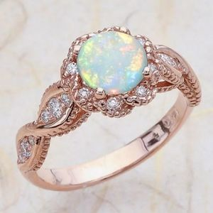 ROSE GOLD ROUND OPAL CZ DIAMOND HALO TWIST RING
